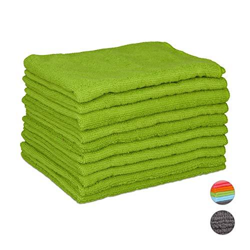 Relaxdays Mikrofasertücher 10er Set, 40x30 cm, saugfähiges Microfasertuch, Allzweckreinigung, waschbar, weich, grün