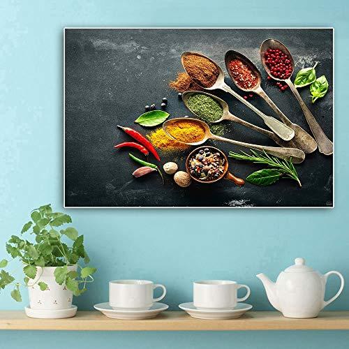 XCSMWJA Cuchara Granos Especias Lienzo Pintura Plantas Verdes Carteles E Impresiones Arte De Pared Escandinavo Imagen De Comida para Decoración De Habitación De Cocina 30x40cm