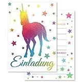 Pandawal Einladungskarten Kindergeburtstag 12 x Glitzer Einladung Einhorn für Kinder Geburtstag, Party, Kinderparty Einschulung. Ideal für Mädchen oder Junge in Regenbogen Farben mit Sterne