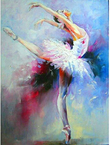 Pintar por Numeros Bailarina de ballet artística DIY Cuadro al óleo con números para Kit de Pintura al óleo Digital para Adultos y niños de Lienzo decoración para el hogar 40x50cm Sin Marco