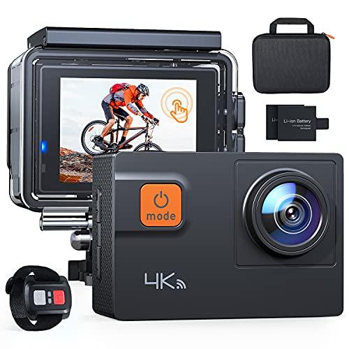 Action Cam A87, Touch Screen 4K/60FPS 20MP WiFi Telecomando Impermeabile 40M 8XZoom Fotocamera Subacquea, Gyro Stabilizzazione Correzione della Distorsione Videocamera, Custodia per Trasporto