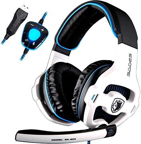 Sades Wired USB 7.1 Stereo Surround Sound Gaming Headset Over Ear Headphones with Mic Revolution Volume Control & Noise Canceling & LED Light for PC Mac Computer Games Laptop-White