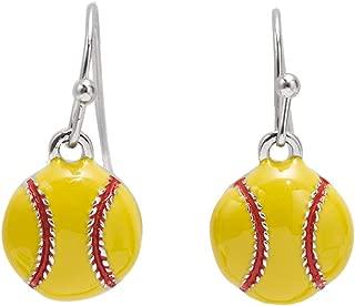 GIMMEDAT Softball Post or Dangle Earrings   Lead & Nickel Free   Player or Fan Gift (Enamel Dangle)