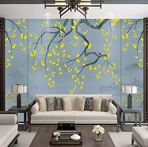 New Chinese Ancient Style Ginkgo Leaves Bamboo Willow Flowers and Birds Landscape Painting TV Background Wall Paper Simple Living Room Decoration Wall covering-250X160CM