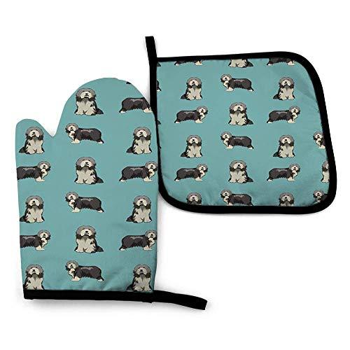 zsxaaasdf Bearded Collie Dog Collie Dog Bearded Collie Dogs Simple Dog Azul Guantes de Horno Calientes y agarraderas, para Utensilios de Cocina, para Barbacoa