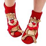 Coxeer▒ Christmas Socks 3d Animal Non-slip Household Floor Socks for Women (Cute Elk) One Size
