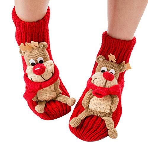 Coxeer Christmas Socks 3d Animal Non-slip Household Floor Socks Winter Slipper