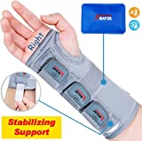 Wrist Brace for Carpal Tunnel, Adjustable Arm Compression Hand Support with Splints & Ice Pack Wrap, Right Hand, Medium/Large, Wrist Support Brace for Tendinitis,Injuries, Wrist Pain, Sprain, Sports