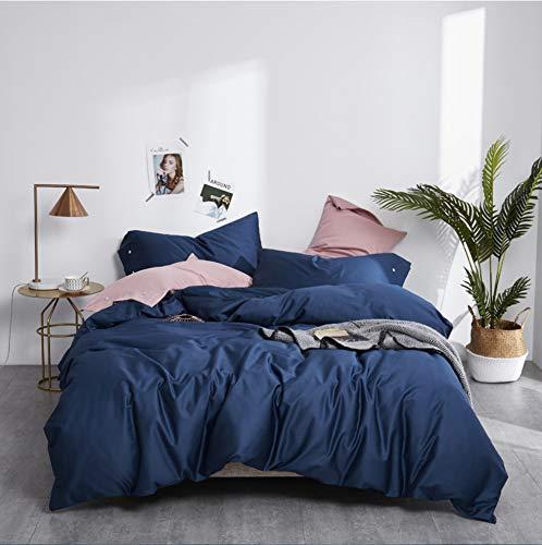DUIPENGFEI Pure Color Satin Long-Staple Cotton Embroidery Bed 4-Piece Set, Pure Cotton Skin Care Duvet Cover Set, Navy Blue, Set King 220X240Cm