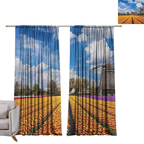 Verduisteringsgordijnen 2 panelen Rod Pocket Gordijn Panelen voor Slaapkamer & Keuken Windmolen, Serene Vast Traditionele Tuin met Bloeiende Bloemen Bomen en Nederlandse Tulpen Multi kleuren