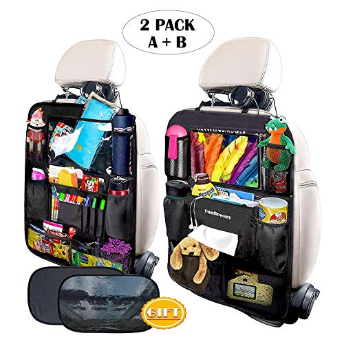 FUNFLOWERS Car Backseat Organizer Kick Mats Car Seat Back Protectors with Touch Screen Tablet Holder...