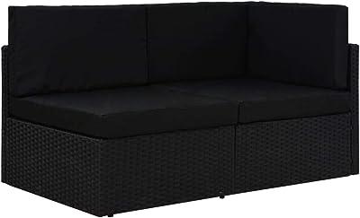 vidaXL Canapé Sectionnel 2 Places Sofa de Jardin Canapé de Terrasse Meuble d'Extérieur Sofa de Patio Résistant aux Intempéries Résine Tressée Noir