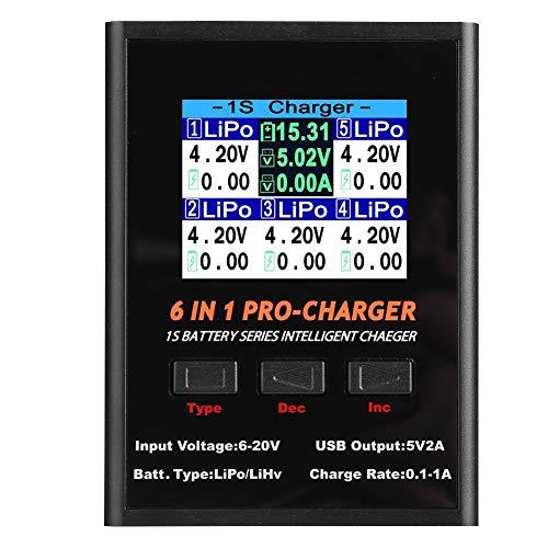 Lipo-Ladegerät, 6-in-1-Ladegerät für Waage 1S LiPO/LiHv-Ladegerät mit Micro MCX JST MCPX MOLEX-Anschlüssen