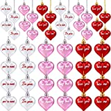 Valentine's Day Heart Ornaments Christmas Tree Heart Baubles Multicolored Heart Shaped Ornaments Plastic Letter Heart Baubles for Christmas Valentine's Day Wedding Party Decoration (36 Pieces)