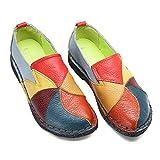 Socofy Mocassins Femme, Chaussures de Ville en Cuir Talon Plate Loafters Slip On A Enfilter Printemps, Design Original à style ethnique - Noir Gris Bleu Jaune Rouge - Taille 38 EU