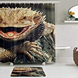 CIKYOWAY 2Pcs Funny Bearded Dragon Lizards Reptile Herpetology,Shower Curtain Set with Non-Slip Rugs,Bathroom Mats and 12 Hooks,Durable Waterproof Bath Curtains