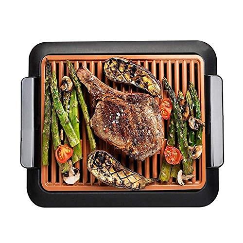 CCLLA Smokeless Barbecue électrique Portable, Barbecue intérieur et antiadhésives, crêpière électrique sans fumée à Cinq Niveaux Contrôle de la température, Lavable Design Split, Noir