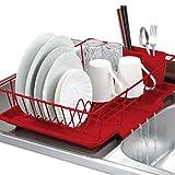 SKEMIX 3 Piece Kitchen Sink Dish Drainer Set - Red