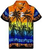 King Kameha Camisa hawaiana de manga corta para hombre, con bolsillo frontal, estampado hawaiano y palmeras Color naranja. XL