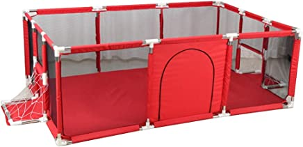 WJSW Adorable Safety Play Center Yard Portable Playard Anti-Fall Play Pen for Infants and Babies Lightweight Mesh Baby Crawling Playpen Indoor  amp  Outdoor Use Red  Size  190x129x66cm