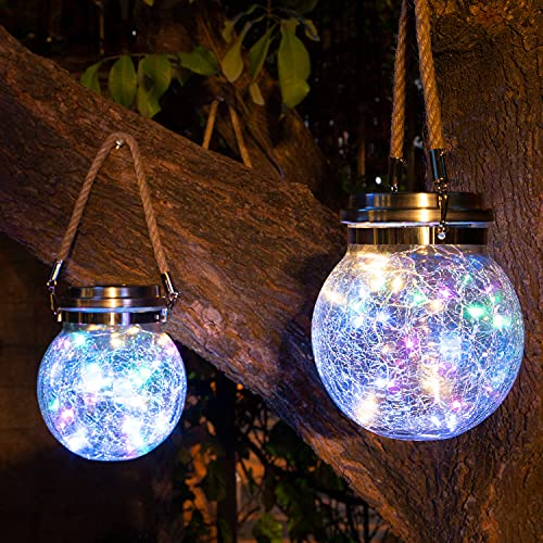 Solar Lantern Outdoor,2 Pack 30 LED Waterproof Solar Cracked Glass Ball Hanging Lights for Garden ,Patio ,Backyard,Outdoor /Indoor, Wedding, Christmas,Holiday Decoration,USB Powered(Multi-Color)