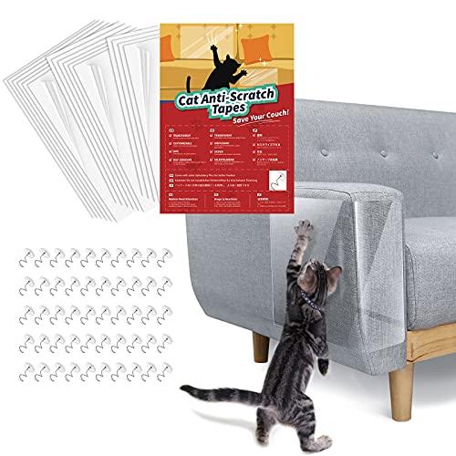 Lewondr 16PZS Protector Sofa Gatos Arañazo, Fundas de Sofá Autoadhesivas Transparentes para Gatos con 50 Tornillos, Protector Rascador Antirrasguños para Muebles, Puertas, Paredes de Madera