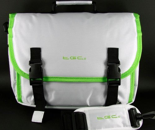 White & Green Trim Messenger Style Carry Case Bag for Sony SGPT TouchPad Tablet & Cover