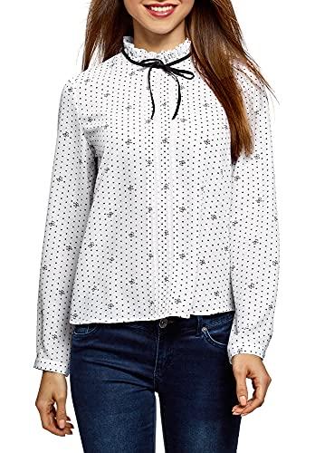 oodji Ultra Damen Bluse mit Dekorativer Schleife und Rüschen am Kragen, Weiß, DE 40 / EU 42 / L