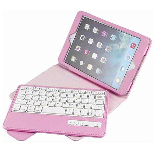 BoriYuan iPad Mini Keyboard Case- Detachable Removable Wireless Bluetooth Keyboard Folio Flip Protective Slim PU Leather Cover Case Stand for Apple Mini 4/ Mini 3/ Mini 2 with Retina/Mini 1 (Pink)