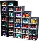 24 Pack Shoe Storage Box Shoe Box Clear Plastic Stackable Drop Front...