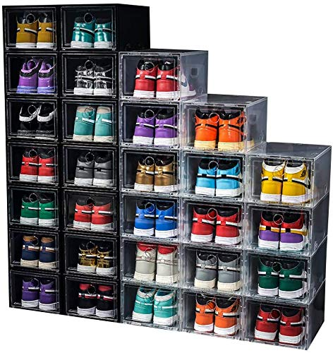 24 Pack Shoe Storage Box Shoe Box Clear Plastic Stackable Drop Front Shoe Organizer Space Saving Foldable Shoe Container Bin Fit up to US Size 12 (Transparent- 24Pack)