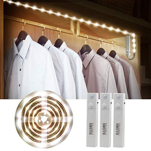 Bason Motion Sensor LED Closet Light, Flexible LED Strip Stair Lights Battery Operated, Stick on Anywhere Kitchen Cabinet Light for Bedroom/Bathroom/Bookcase/Security Lighting, 4000K, 3 Packs.