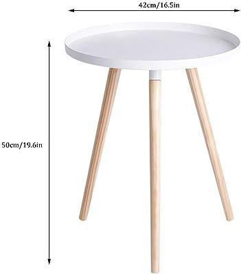 小さな丸いコーヒーテーブル、丸いモダンなエレガントなサイドテーブル、木製の脚が付いたソファサイドテーブル、ベッドルームラウンジ用(色:緑)