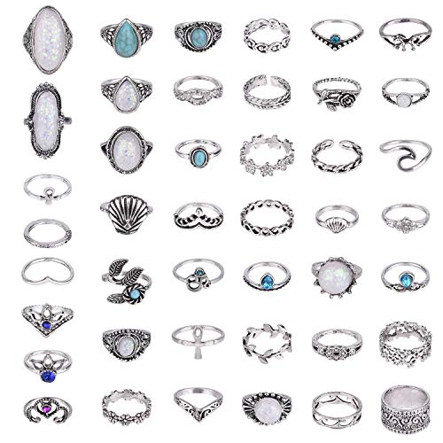 TUPARKA 46 Pcs Vintage Punk Rings Set Boho Joint Knuckle Ring Stackable Finger Rings Retro Jewellery Gift for Girls Women