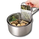 Saucepan Triple Divider and Separator Set - Saves Energy and Space When Cooking. Three Part Professional 18cm Stainless Steel Strainer. Vegetables, Potatoes, Mussels, Boiled Eggs. Pan Not Included.
