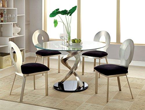 Furniture of America Catarina I 5 Piece Round Glass Top Dining Set