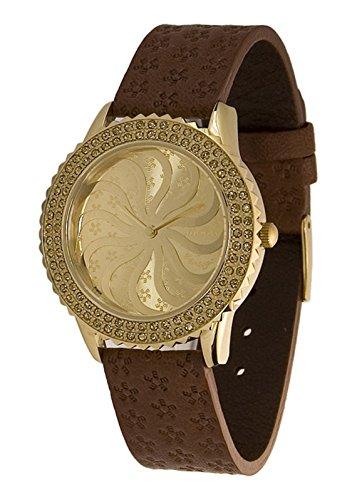 Moog Paris Vertigo Reloj para Mujer con Esfera Champagne, Correa Marrón de Piel Genuina y Cristales Swarovski - M44962-005