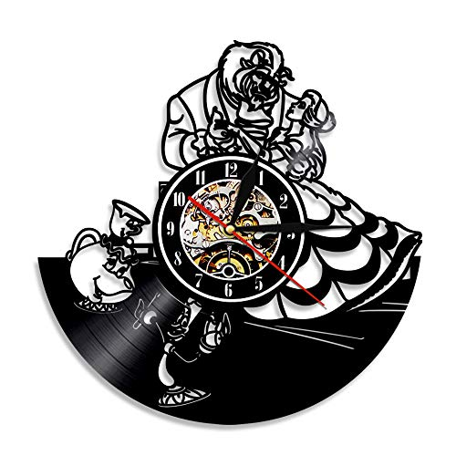 BFMBCHDJ La Bella y la Bestia Reloj de Vinilo Reloj de Pared de Vinilo Reloj de Pared de Registro Reloj de Pared Decorativo nostálgico Vintage A4 sin LED 12 Pulgadas