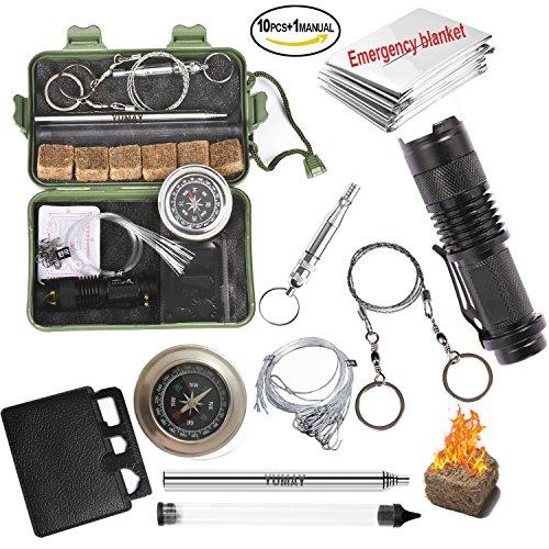 Yumay - Kit de supervivencia 10 en 1 multiusos, herramientas de emergencia...