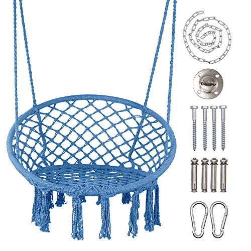LAZZO Hammock Chair, Hanging Knitted Mesh Cotton Rope Macrame Swing, with Hanging Kit and Chain, Max 260lbs, for Bedroom, Outdoors, Garden, Patio, Yard. Child, Girl, Adult (Steelblue)
