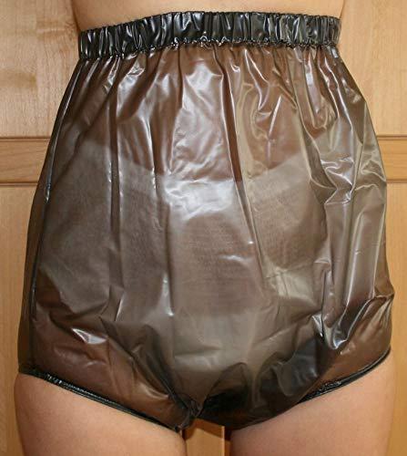 PVC Adult Baby Inkontinenz Windelhose Gummihose schwarz transparent (XL)