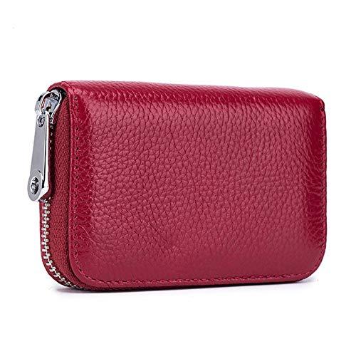 Yangyme Porte-Cartes de Crédit, Vin Rouge Cartes en Cuir Portefeuilles Porte-Cartes D'identité Petit Porte-Monnaie Pour Femmes