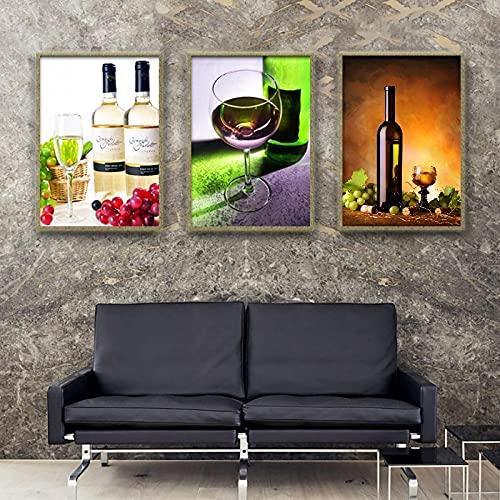 SSHABC Pinturas abstractas de Arte de Pared de Uvas de champán, Carteles e Impresiones en Lienzo de Copa de Vino Verde para la decoración del Dormitorio de la Sala de Estar / 40x60cmx3Pcs / Sin Marco