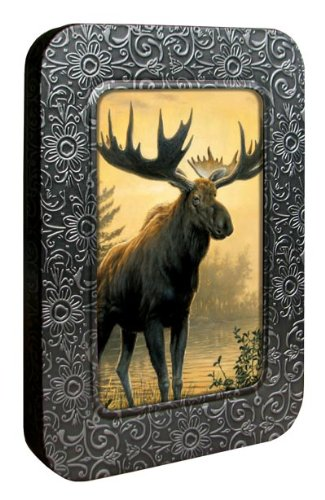 Tree-Free Greetings Noteables Notecards In Reusable Embossed Tin, 12 Card Assortment, Recycled, 4 x 6 Inches, Northwoods Moose, Multi Color (76007)