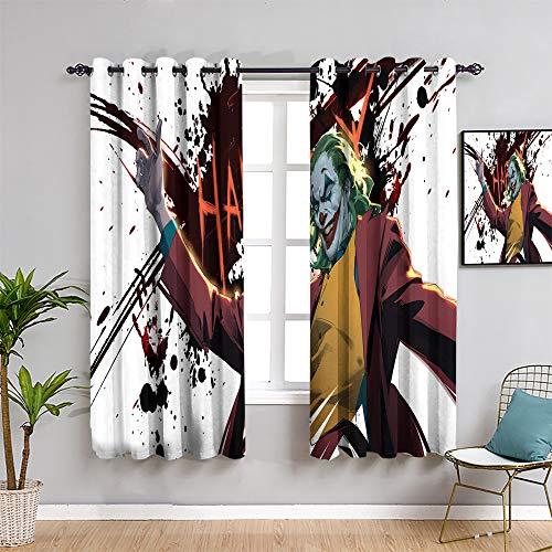 QIAOQIAOLO Joker bedruckte Verdunkelungs-Lampen für Schlafzimmer, Vorhänge, 213,4 cm Länge, Joker Laugh Art 2019, schalldichter Lampenschirm, B 132 x L 213,4 cm