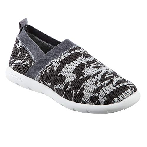 isotoner Zenz Women's Elastic Sport Knit Slip-On Walking Shoe, Ash Geo/Charcoal, 11