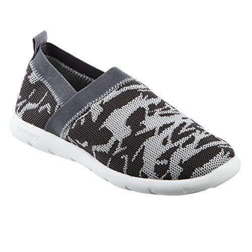 isotoner Zenz Women's Elastic Sport Knit Slip-On Walking Shoe, Ash Geo/Charcoal, 11