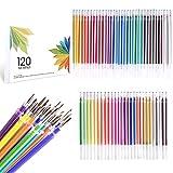 ZSCM - Recambios de tinta para bolígrafo de gel de 120 colores, recargas para bolígrafos de gel con purpurina neón, repuesto de cartuchos para juego de bolígrafos de gel con purpurina, sin repetición