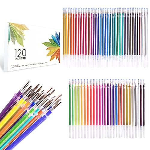 ZSCM Recambios de tinta de gel de 120 colores, recambios de tinta de gel de neón con purpurina, reemplazan cartuchos para bolígrafos de gel con purpurina, sin repeticiones