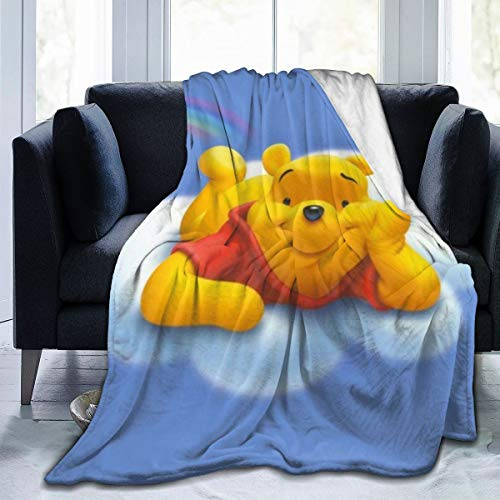 Persimmon Wind Year Cartoon Winnie The Pooh Blanket,Super Soft Fleece Warm Fluffy Blankets Easy to Care All Season Suitable Quality60 x50